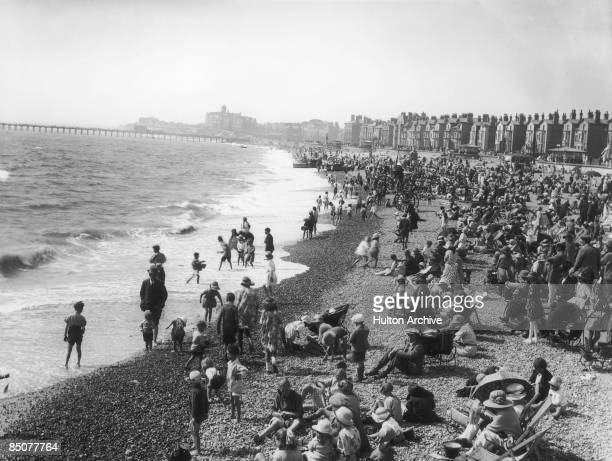Holidaymakers on the beach at Lowestoft Suffolk circa 1910