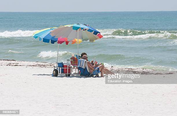 Holidaymakers on the beach Gulf Islands National Seashore Pensacola Florida USA