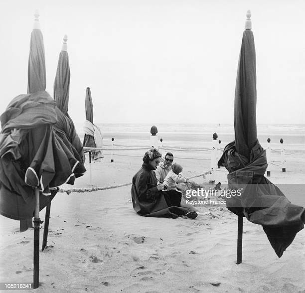 Holidaymakers On The Beach Of Deauville In The Summer Of 1957