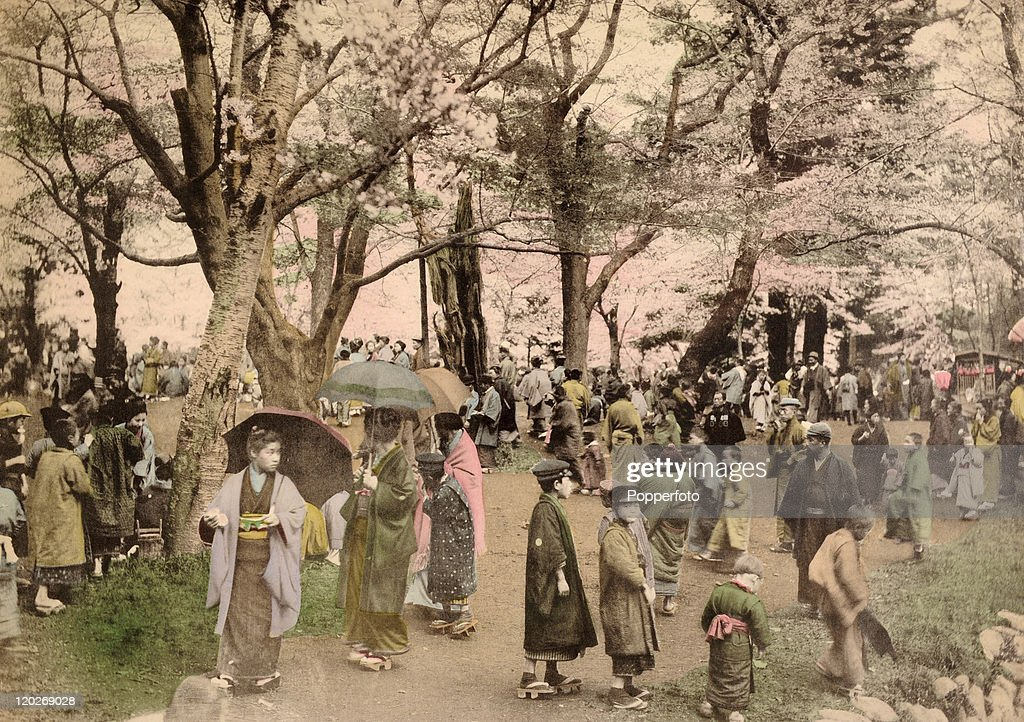 Holiday-makers walking under the cherry trees in Ueno Park in Tokyo, circa 1890.
