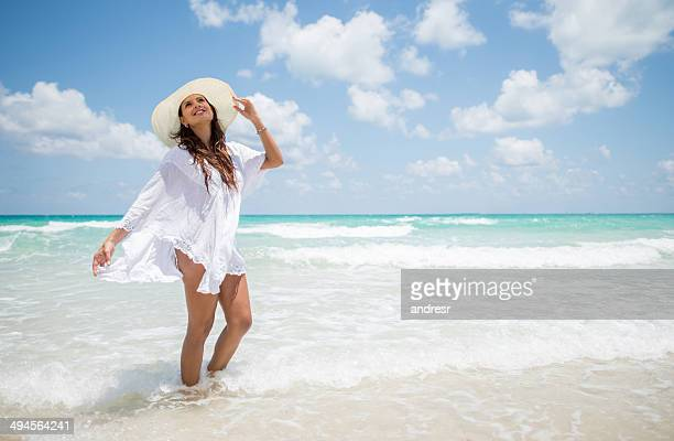 holidays at the beach - sarong stock photos and pictures