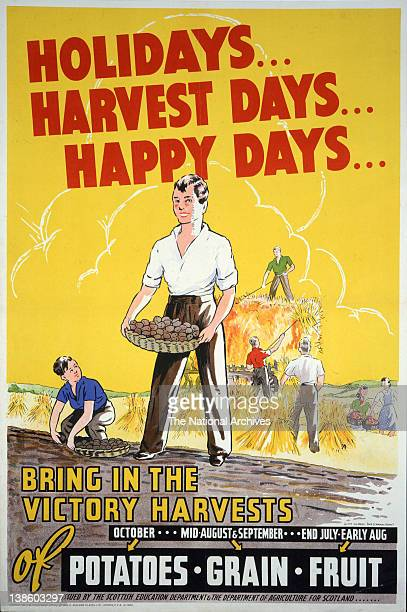 Holidays harvest days happy days WWII poster