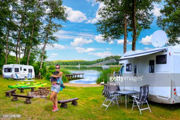 holidays in poland - active rest by the lake - camper trailer stock pictures, royalty-free photos & images