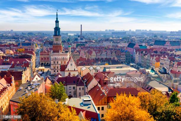 holidays in poland - aerial view of poznan - poland stock pictures, royalty-free photos & images