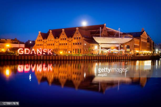 holidays in poland - summer night in gdańsk's old town on the motława river - motlawa river stock pictures, royalty-free photos & images