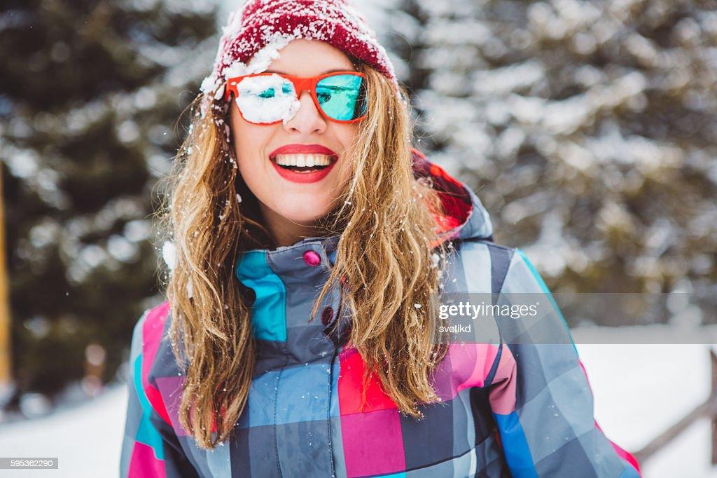 Holidays on snow - priceless : Bildbanksbilder