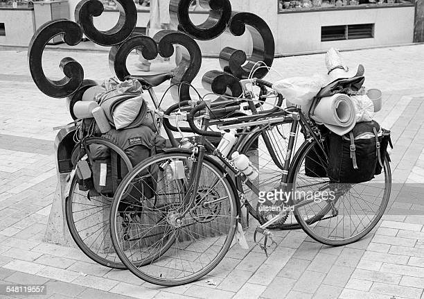 holidays travel two bicycles packed with luggage stand side by side France Loire Valley LoiretCher Blois