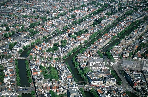 Holland, Amsterdam, canals, aerial view