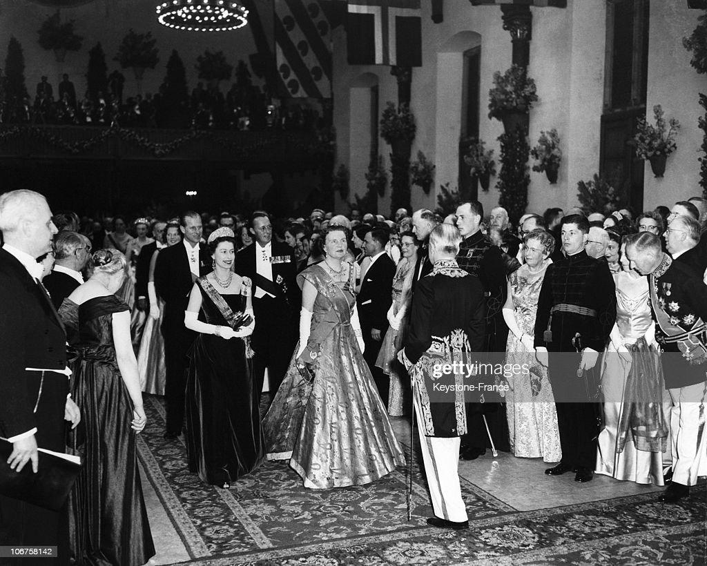 Holland, Den Haag, Ridderzaal. Hm The Queen Elizabeth Ii, Queen Juliana, Prince Bernhardt And Prince Philip In March 1958. : News Photo