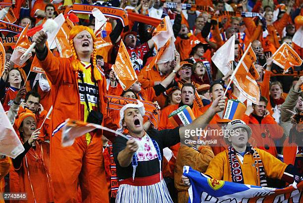 Holland fans cheer during the Euro 2004 Qualifying match between Holland and Scotland at The Amsterdam Arena on November 19 2003 in Amsterdam Holland