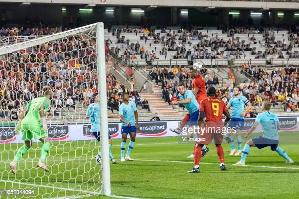 Holland goalkeeper Jasper Cillessen Kevin Strootman of Holland Denzel Dumfries of Holland Stefan de Vrij of Holland Toby Alderweireld of Belgium...