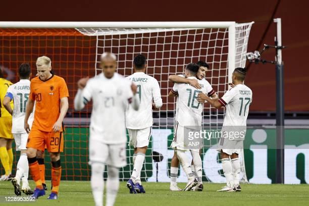Holland goalkeeper Tim Krul, Andres Guardado of Mexico, Donny van de Beek of Holland, Luis Rodriguez of Mexico, Edson Alvarez of Mexico, Hector...