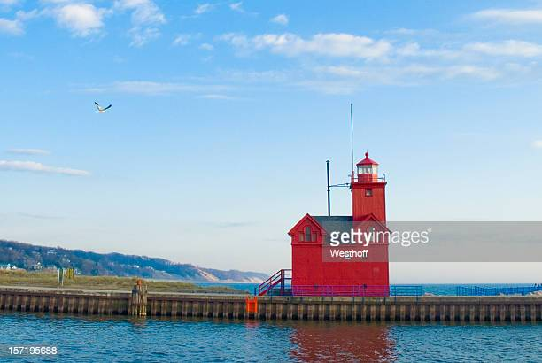 holland harbor lighthouse - michigan stock pictures, royalty-free photos & images