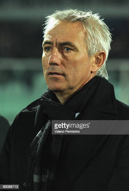 Holland head coach Bert van Marwijk looks during the international friendly match between Italy and Holland at Adriatico Stadium on November 14 2009...