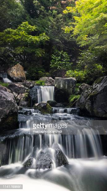 holland park kyoto gardens london little waterfall in the green - holland park stock pictures, royalty-free photos & images