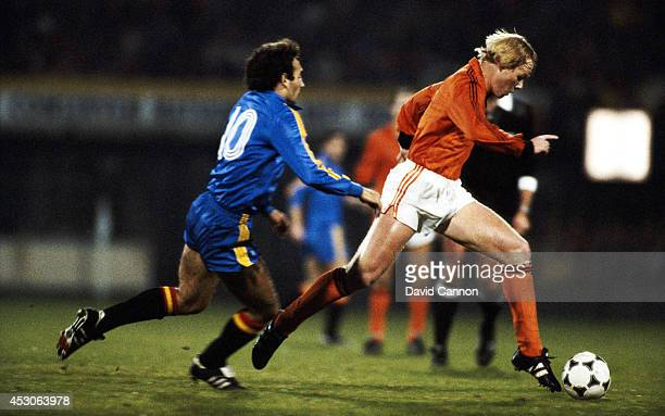 Holland player Ronald Koeman in action during a Euro 84 qualifier between Holland and Spain at De Kuip Feyenoord on November 16 1983 in Rotterdam...