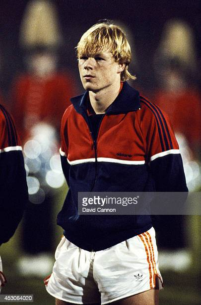 Holland player Ronald Koeman looks on before a Euro 84 qualifier between Holland and Spain at De Kuip Feyenoord on November 16 1983 in Rotterdam...