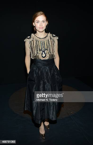 Holland Roden attends the Naeem Khan Show during Mercedes-Benz Fashion Week Fall 2014 at The Theatre at Lincoln Center on February 11, 2014 in New...