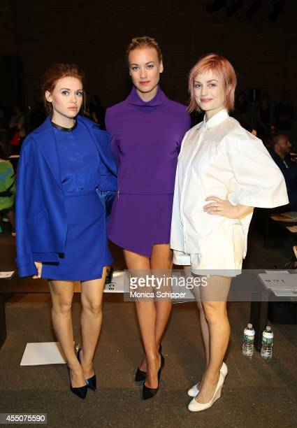 Holland Roden Yvonne Strahovski and Alison Sudol attend the ICB fashion show during MercedesBenz Fashion Week Spring 2015 at Art Beam on September 9...