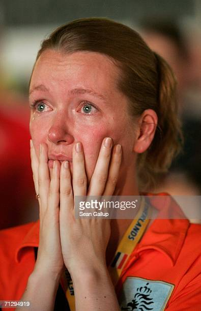 Holland soccer fan cries after watching Holland lose in the Round of 16 match between the Netherlands and Portugal in the FIFA World Cup 2006 at an...