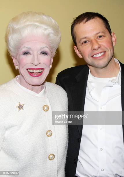 "Holland Taylor as ""Ann Richards"" and Jon Cryer pose backstage at the hit play ""Ann"" on Broadway at The Vivian Beaumont Theater on March 15, 2013 in..."
