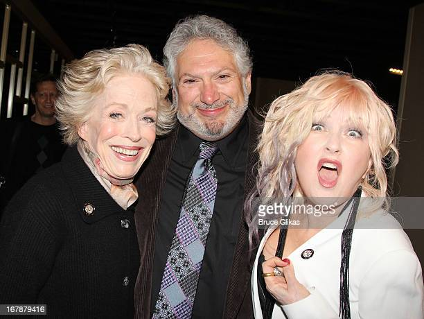 Holland Taylor Harvey Fierstein and Cyndi Lauper attend the 2013 Tony Awards The Meet The Nominees Press Junket at the Millenium Hilton on May 1 2013...