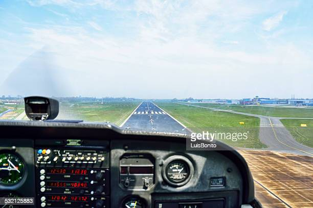 Holland, View of cockpit of airplane landing
