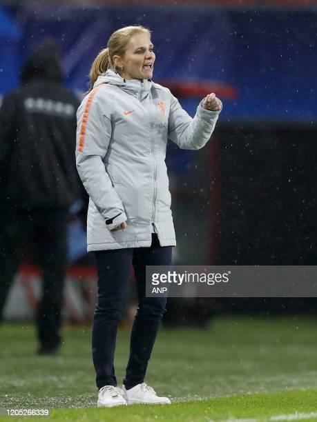 Holland Women coach Sarina Wiegman during the women's international friendly Tournoi de France match between The Netherlands and Brazil at Stade du...