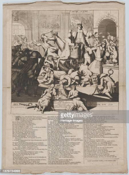 Hollands Hollende Koe , 1690. [The return of Hans Willem Bentinck, Earl of Portland, to the Netherlands]. Artist Gaspar Bouttats.