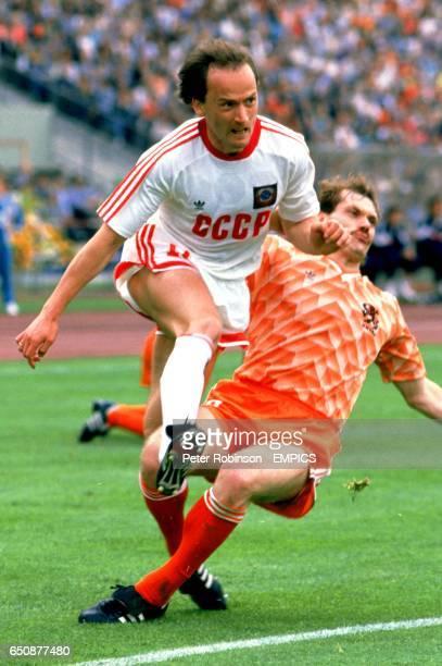 Holland's Jan Wouters clatters USSR's Igor Belanov