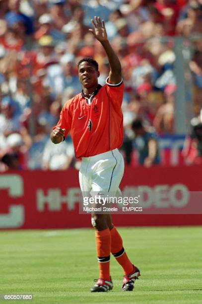 Holland's Patrick Kluivert celebrates scoring the opening goal