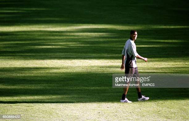 Holland's Patrick Kluivert trains alone at their training camp in Hoenderloo