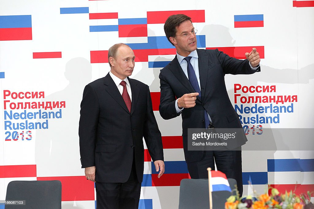 Holland's Prime Minister Mark Rutte (R) meets with Russian President Vladimir Putin April 8, 2012 in Amsterdam, Netherlands. Putin began a one-day state visit to the Netherlands at the invitation of Queen Beatrix.