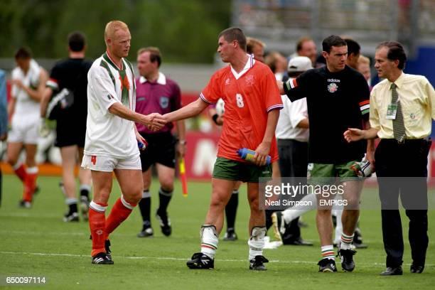 Holland's Ronald Koeman consoles Ireland's Roy Keane
