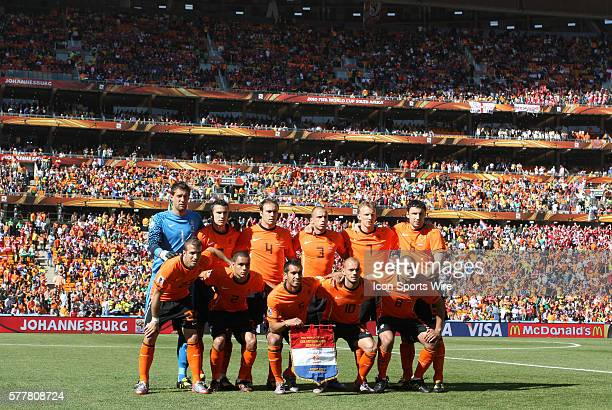 Hollands starters pose for a team photo in a full stadium The Netherlands National Team defeated the Denmark National Team 20 at Soccer City Stadium...