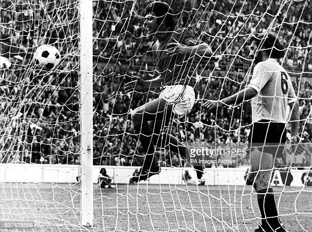 Holland's Wim van Hanegem celebrates as the ball enters the net for his team's first goal with Uruguay's Ricardo Pavoni unable to prevent the goal
