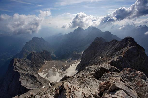 Hollentalferner from the Zugspitze summit, Wetterstein Range, Bavarian Alps.
