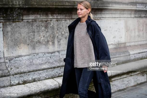 Holli Rogers seen wearing navy coat knit during Paris Fashion Week Womenswear Spring Summer 2020 on September 29 2019 in Paris France