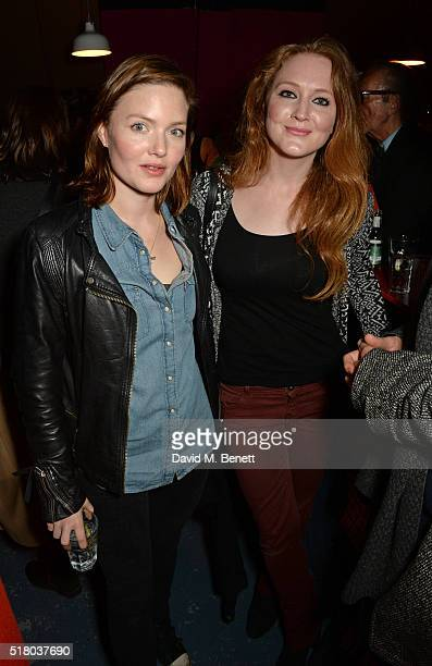 Holliday Grainger and Olivia Hallinan attend the press night performance of Bug at Found111 on March 29 2016 in London England