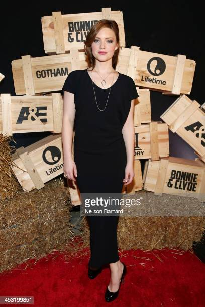 "Holliday Grainger attends the ""Bonnie And Clyde"" miniseries premiere at Heath at the McKittrick Hotel on December 2, 2013 in New York City."