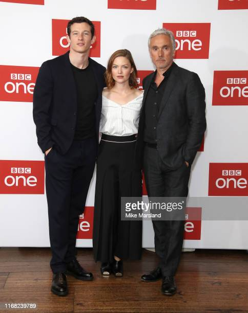 Holliday Grainger Callum Turner and Ben Miles attend The Capture Photocall at The Soho Hotel on August 15 2019 in London England