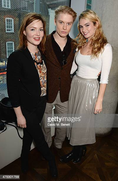 "Holliday Grainger, Freddie Fox and Lily James attend a VIP screening of Harvey Weinstein's ""Escape From Planet Earth"" at The W Hotel on February 27,..."