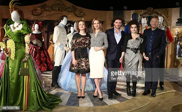 Holliday Grainger Lily James Richard Madden Helena Bonham Carter and Kenneth Branagh attend a photocall for the Cinderella Exhibition at Leicester...