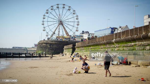 Hollidaymakers enjoy the hot weather during a warm weather on Easter Sunday , in Bridlington on 21 April 2019. The Met office has forecast a fine...
