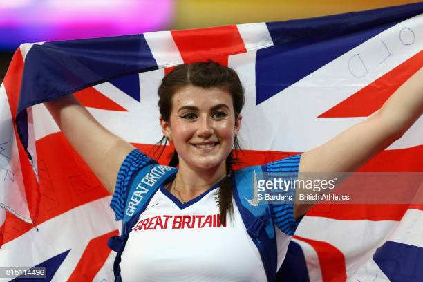 Hollie Arnold of Great Britain celebrates winning gold in the Women's Javelin Throw F46 Final during Day Two of the IPC World ParaAthletics...