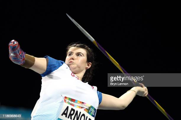 Hollie Arnold of Great Britain in action on her way to winning the Women's Javelin Throw F46 on Day Five of the IPC World Para Athletics...