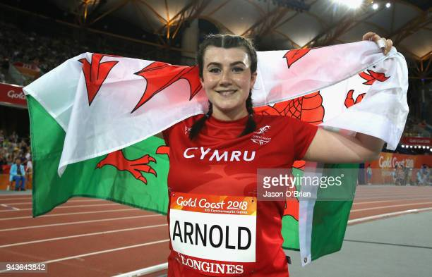 Hollie Arnold of Wales celebrates winning gold in the Women's F46 Javelin Final during the Athletics on day five of the Gold Coast 2018 Commonwealth...