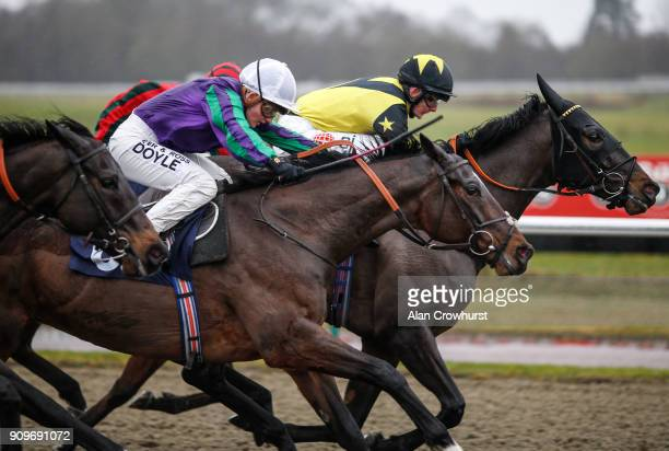 Hollie Doyle riding Ay Ay win The Betway Handicap Stakes at Lingfield Park racecourse on January 24 2018 in Lingfield England