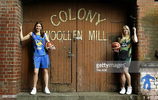 Hollie Grima of the Bulleen Boomers Left, and Carly Wilson of Dandinong Rangers show off the new women's basketball uniforms on 15th September, 2005....