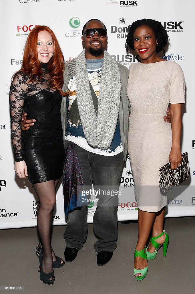 Hollie Howard, fashion designer Stephen Goudeau, and Tracee Beazer attend Nolcha Fashion Week New York 2013 presented by RUSK at Pier 59 Studios on February 13, 2013 in New York City.